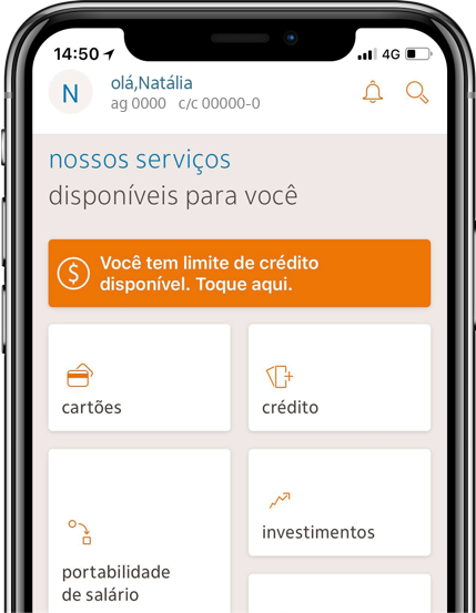 Tela inicial do app Itaú.