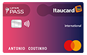 Plástico do cartão Latam Pass International Mastercard.