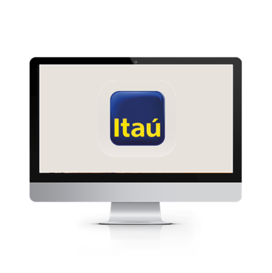 monitor exibindo a tela de login do app itaú no computador