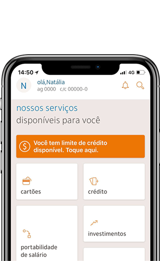 tela inicial do App Itaú